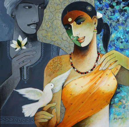 Figurative Acrylic Art Painting title 'Indian Couple' by artist Agacharya A