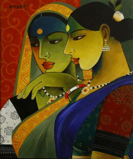 Figurative Acrylic Art Painting title 'Indian Woman 4' by artist Agacharya A