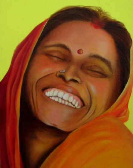 Figurative Oil Art Painting title 'India Abundance' by artist Parul V Mehta