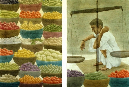 Vegetable Vendor | Painting by artist Gulab Kapadiya | watercolor | Paper
