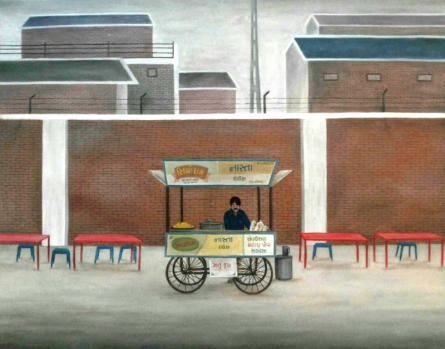 Gulab Kapadiya | Oil Painting title Snack Cart on Canvas | Artist Gulab Kapadiya Gallery | ArtZolo.com
