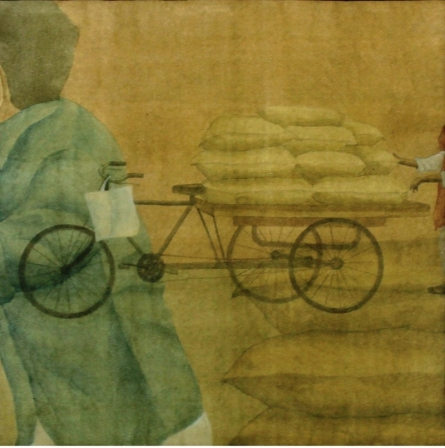 Figurative Watercolor Art Painting title 'Mazdoori' by artist Gulab Kapadiya
