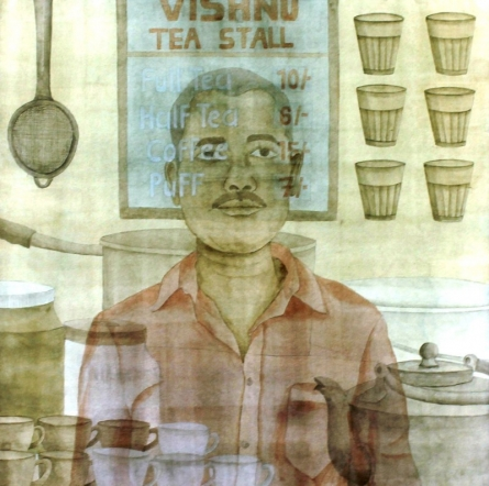 Chai Waala | Painting by artist Gulab Kapadiya | watercolor | Paper