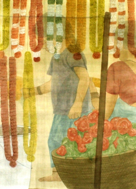 Figurative Watercolor Art Painting title 'Garlands' by artist Gulab Kapadiya