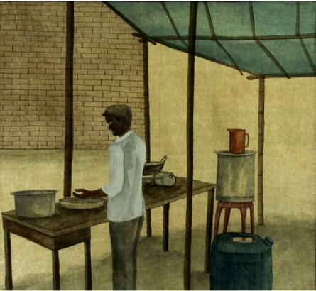 Figurative Watercolor Art Painting title 'The Food Stall' by artist Gulab Kapadiya
