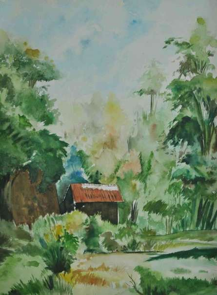 Nature Watercolor Art Painting title 'Nature I' by artist Bhavesh Patel