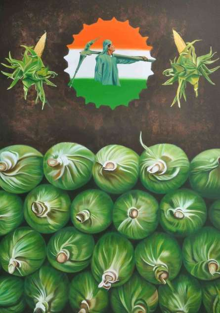 Fantasy Mixed-media Art Painting title 'Paisa' by artist Bhavesh Patel