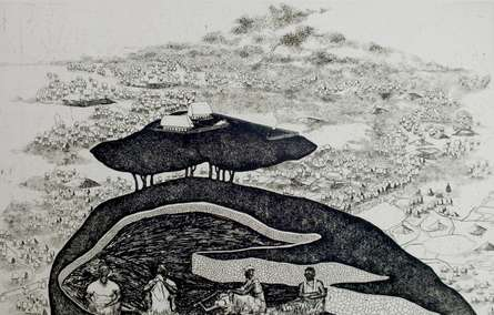 Enigmatic Urbanization | Painting by artist Sudeep Kumar Bashyal | other | Paper