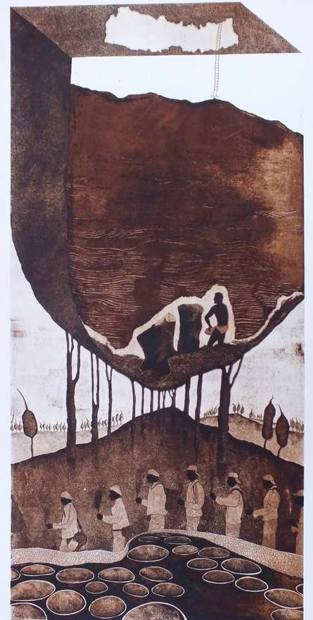Fragments Of A Shattered Past | Painting by artist Sudeep Kumar Bashyal | other | Paper