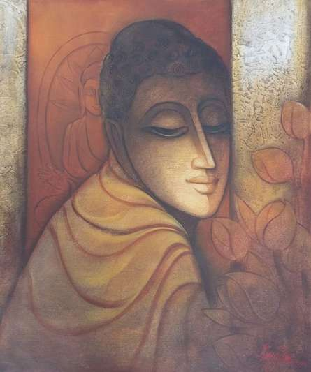 Figurative Mixed-media Art Painting title Buddha I by artist Ram Onkar
