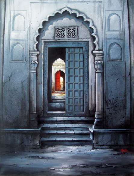 Cityscape Mixed-media Art Painting title 'Indian Door' by artist Ram Onkar