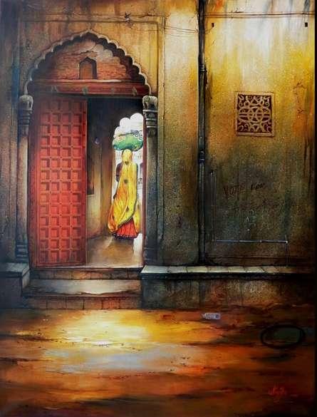 Figurative Mixed-media Art Painting title 'Indian Door II' by artist Ram Onkar