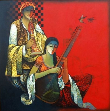 Ram Onkar | Mixed-media Painting title Musician Couple I on Canvas | Artist Ram Onkar Gallery | ArtZolo.com