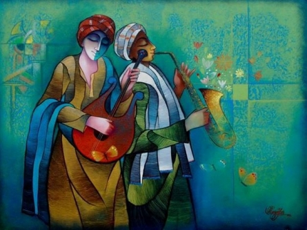 Musician Duo | Painting by artist Ram Onkar | mixed-media | Canvas