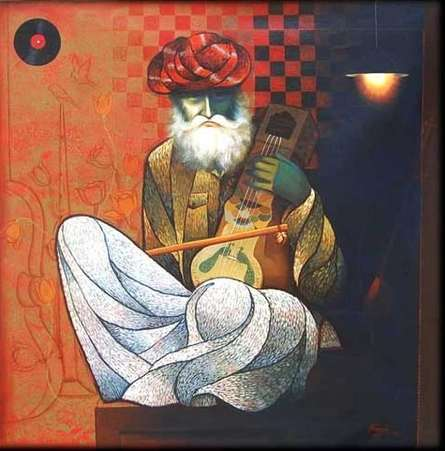 Figurative Mixed-media Art Painting title 'Old Musician' by artist Ram Onkar