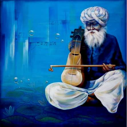 Figurative Acrylic Art Painting title 'Old Musician' by artist Ram Onkar