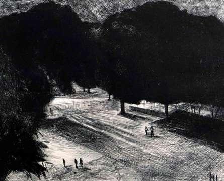 Cityscape Mixed-media Art Painting title 'Night I' by artist Abhishek Verma