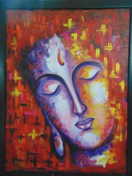 Expressionist Acrylic Art Painting title Merge by artist Purnima Gupta