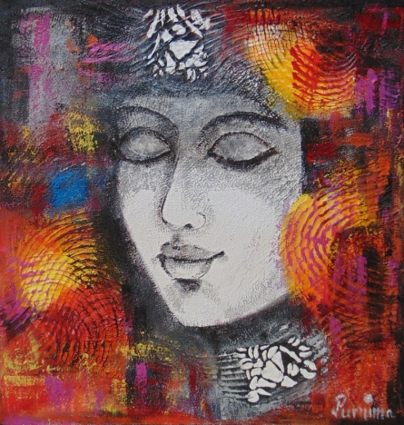 contemporary Acrylic Art Painting title 'Queen' by artist Purnima Gupta
