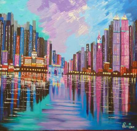 Cityscape Acrylic Art Painting title 'Mumbai Skyline' by artist Purnima Gupta