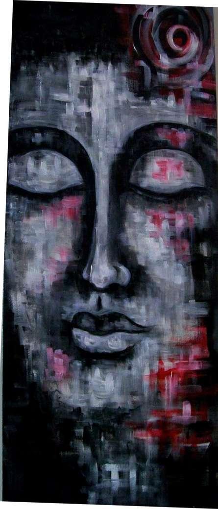Fantasy Acrylic Art Painting title Red Moon 2 by artist Purnima Gupta