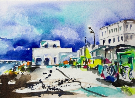 Cityscape Watercolor Art Painting title 'Cafe promenade' by artist Veronique Piaser-moyen