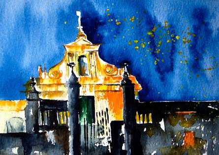 Cathedrale | Painting by artist Veronique Piaser-moyen | watercolor | Paper