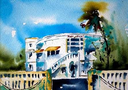 Cityscape Watercolor Art Painting title 'Douanes' by artist Veronique Piaser-moyen