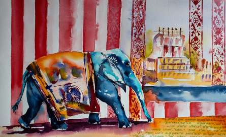 Cityscape Watercolor Art Painting title Elephant kumbakonam by artist Veronique Piaser-moyen