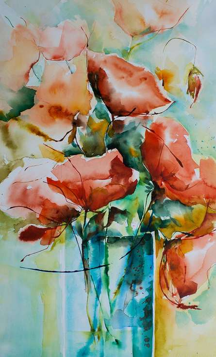 Feux - bengale | Painting by artist Veronique Piaser-moyen | watercolor | Paper