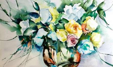 Still-life Watercolor Art Painting title 'La groupie du pianiste' by artist Veronique Piaser-moyen