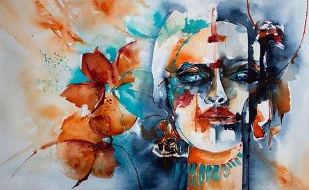 Portrait Watercolor Art Painting title Hijra by artist Veronique Piaser-moyen