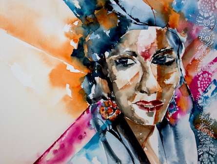 Portrait Watercolor Art Painting title 'Indian lady' by artist Veronique Piaser-moyen