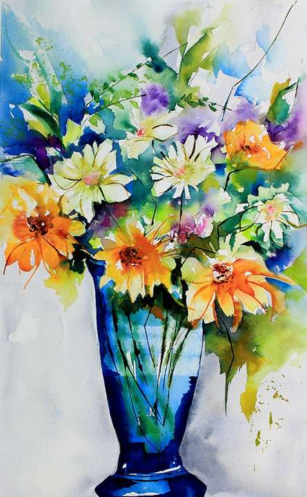 Still-life Watercolor Art Painting title 'Le temps des fleurs' by artist Veronique Piaser-moyen