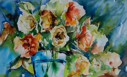 Still-life Watercolor Art Painting title 'Liberte' by artist Veronique Piaser-moyen