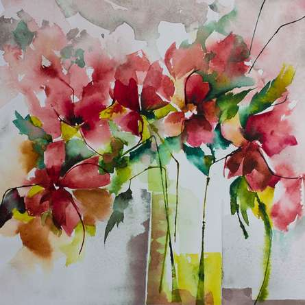 Les marivaudages de Garance | Painting by artist Veronique Piaser-moyen | watercolor | Paper