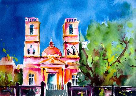 Cityscape Watercolor Art Painting title 'Notre Dame des Anges' by artist Veronique Piaser-moyen
