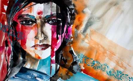 Portrait Watercolor Art Painting title Neelu by artist Veronique Piaser-moyen