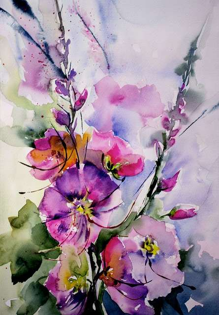 Passeroses | Painting by artist Veronique Piaser-moyen | watercolor | Paper