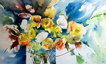 Still-life Watercolor Art Painting title 'Renoncules' by artist Veronique Piaser-moyen
