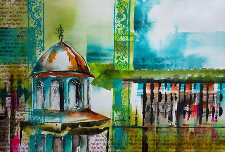 Cityscape Watercolor Art Painting title 'Vaithisvarankovil' by artist Veronique Piaser-moyen