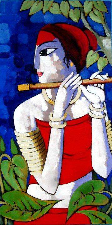 Cubist Acrylic Art Painting title 'Untitled' by artist Sekhar Roy