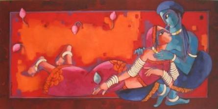 Romantic Couple   Painting by artist Sekhar Roy   acrylic   Canvas