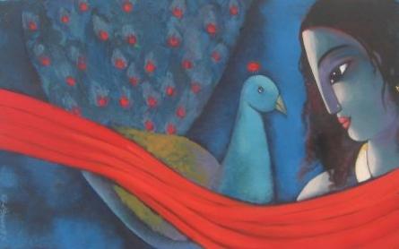 Fantasy Acrylic Art Painting title 'She' by artist Sekhar Roy