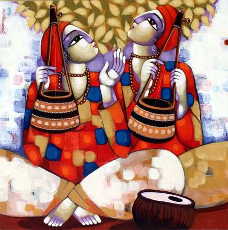 Figurative Acrylic Art Painting title Baul by artist Sekhar Roy