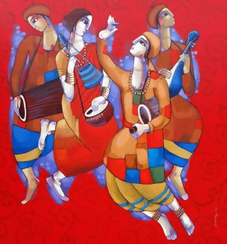 Sekhar Roy | Acrylic Painting title Baul 2 on Canvas | Artist Sekhar Roy Gallery | ArtZolo.com