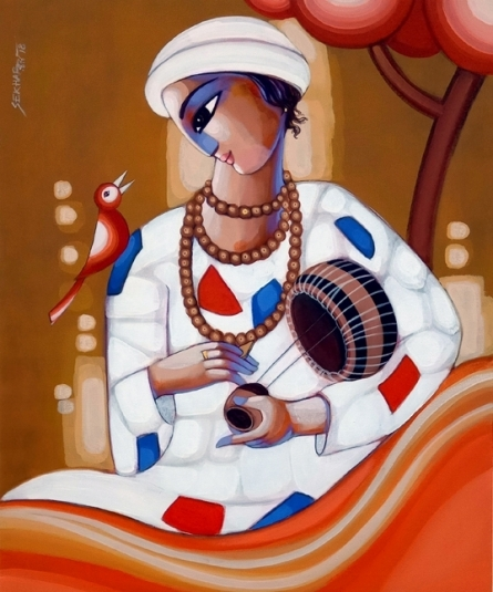 Figurative Acrylic Art Painting title 'Baul 9' by artist Sekhar Roy