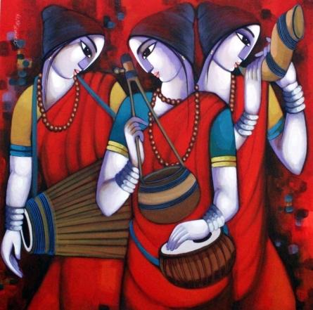 Figurative Acrylic Art Painting title Bengali Tune 12 by artist Sekhar Roy