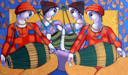 Figurative Acrylic Art Painting title 'Bengali Tune 2' by artist Sekhar Roy