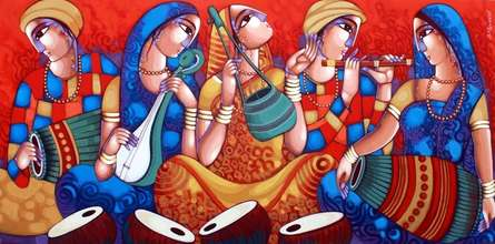 Figurative Acrylic Art Painting title Bengali Tune 246 by artist Sekhar Roy